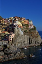 Preview iPhone wallpaper Italy, Ligurian coast, Cinque Terre, rocks, houses, sea