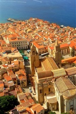 Preview iPhone wallpaper Italy, Sicily, coast, sea, houses, city