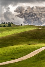 Preview iPhone wallpaper Italy, Trentino, Alto Adige, green fields, mountains, road, trees, house, clouds