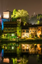 Italy, Turin, night, river, houses, lights