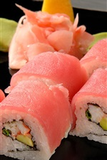 Preview iPhone wallpaper Japanese sushi, rice rolls, wasabi, pink