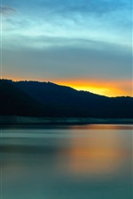 Preview iPhone wallpaper Lake, mountains, clouds, water reflection, sunset