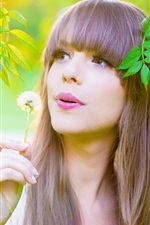 Preview iPhone wallpaper Long hair girl in summer, green leaves, twigs