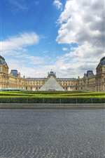 Louvre, museum, glass pyramid, clouds, Paris, France