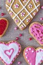 Preview iPhone wallpaper Love hearts cookies, Valentines