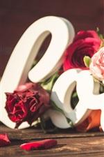 Preview iPhone wallpaper Love, roses, hearts, petals, romantic