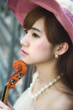 Preview iPhone wallpaper Lovely Asian girl, hat, violin