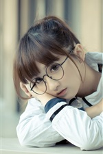 iPhone fondos de pantalla Chica encantadora de la escuela, Asia, gafas