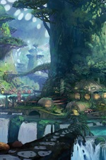 Preview iPhone wallpaper Magic forest, trees, houses, art drawings