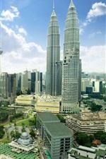 미리보기 iPhone 배경 화면 말레이시아, 쿠알라 룸푸르, 도시, 고층 빌딩