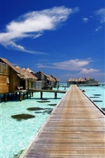 Preview iPhone wallpaper Maldives, tropical, huts, resort, sea