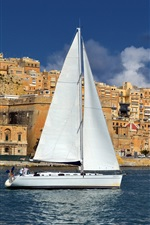 Preview iPhone wallpaper Malta, city, houses, sea, sailboat