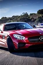 미리보기 iPhone 배경 화면 메르세데스 - 벤츠 AMG 빨간 차 속도, 정면보기