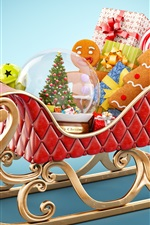 Preview iPhone wallpaper Merry Christmas, Santa's sleigh, gifts