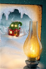 Preview iPhone wallpaper Merry Christmas, magic book, snow, lights