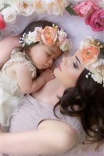 Preview iPhone wallpaper Mom and daughter, love, tenderness, wreath, flowers, sleeping