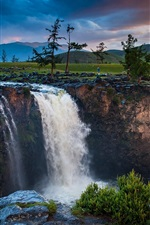 Mongolia, waterfall, trees, clouds, mountains, dusk