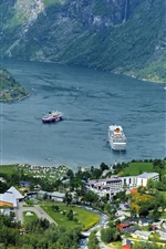 Preview iPhone wallpaper Mountains, houses, fjord, boats, Norway