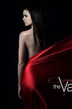 Preview iPhone wallpaper Nina Dobrev, The Vampire Diaries, red dress, black background