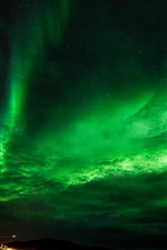 Preview iPhone wallpaper Northern lights, stars, night, sky, clouds, bridge, lights