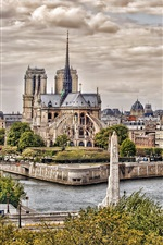 Preview iPhone wallpaper Notre Dame Cathedral, Paris, France, city, road, trees, river, clouds