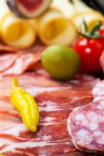 Preview iPhone wallpaper Olives, chili, ham, cheese, bacon