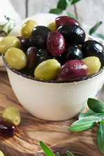 Preview iPhone wallpaper Olives, oil, leaves, fruit