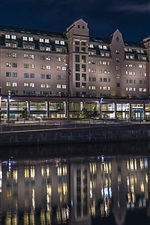 Preview iPhone wallpaper Oslo, Norway, house, night, lights, water reflection, river