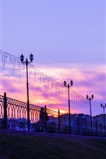 Penza, Russia city, sunset, lights, fence, clouds