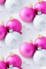 iPhone fondos de pantalla Bolas de Navidad de color rosa y blanco