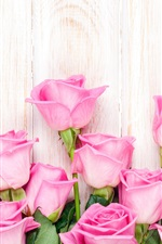 Preview iPhone wallpaper Pink rose flowers, wood background