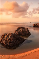 Preview iPhone wallpaper Portugal, beach, stones, sea, clouds, sunset