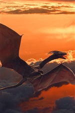Preview iPhone wallpaper Pterosaurs flying in sky, dragon, clouds, dusk