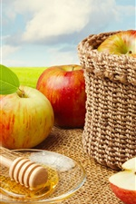 Preview iPhone wallpaper Red apples, basket, nuts, blue sky