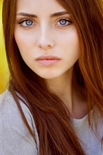 Preview iPhone wallpaper Red hair girl, model, orange background