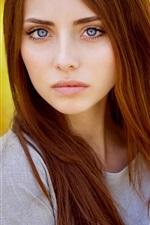 Vorschau des iPhone Hintergrundbilder Rote Haare Mädchen, Modell, orangefarbenen Hintergrund