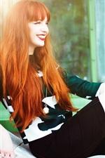Red hair girl, smile, legs, rest