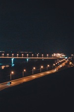 Preview iPhone wallpaper Russia, Kaluga, bridge, river, night, lights