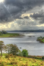 Preview iPhone wallpaper Scotland, Castle Stalker, island, bay, clouds, grass, trees