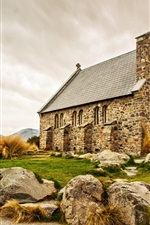 Scotland, church, stones house, lake, mountains, road