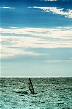Sea, clouds, sky, horizon, windsurfing