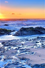 Sea, coast, rocks, waves, sunrise, dawn