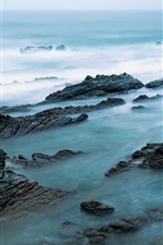 Preview iPhone wallpaper Sea, rocks, fog, morning