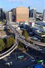 Preview iPhone wallpaper Seoul, South Korea, city, skyscrapers, traffic, road, bridge