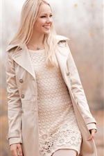 Preview iPhone wallpaper Smile blonde girl walking in autumn