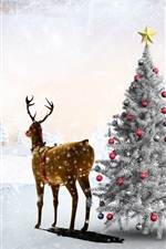 Preview iPhone wallpaper Snow, winter, deer, Christmas tree, balls, forest, snowflakes, art picture