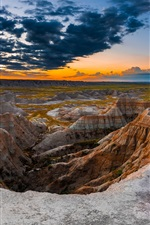Preview iPhone wallpaper South Dakota, Badlands National Park, USA, mountains, rocks, clouds, sunset