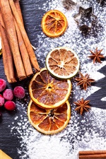 Preview iPhone wallpaper Still life, cranberry, cinnamon, star anise, lemon, powdered sugar