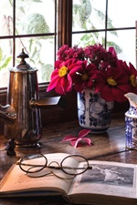 Still life, room, window, glasses, book, lamp, tea, cake