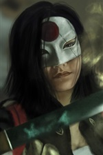 Preview iPhone wallpaper Suicide Squad, girl, katana, sword, mask, art picture